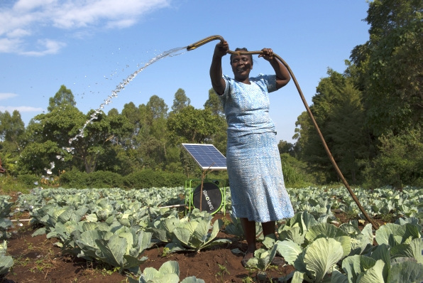 Irrigating a farm using solar powered water pump in Kenya 596